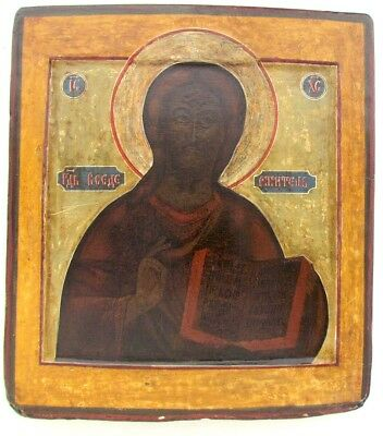 18th CENTURY ANTIQUE RUSSIAN ICON OF JESUS w/ KOVCHEG