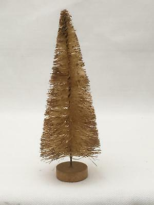 "Antique 5"" White Brush Tinged in Gold Christmas Tree on Wood Stand"