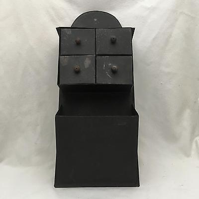 Vintage Black Metal, Tin Wall Cabinet w Four Drawers, Pocket for Mail, Cookbooks