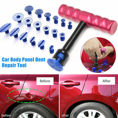 T-Bar Car Body Panel Paintless Dent Removal Repair Lifter Tool + Puller Tabs Kit