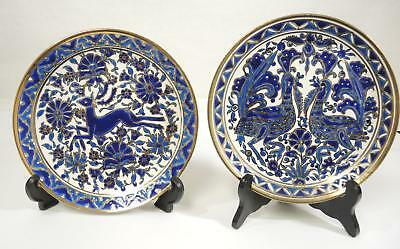 Two Vintage Dakas Ceramic Hand Made Blue & White Plates * Deer