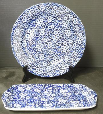 Staffordshire Burleigh Large Sandwich Tray & Dinner Plate * Calico