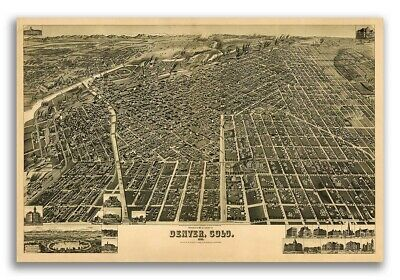 1889 Denver Colorado Vintage Old Panoramic City Map - 24x36