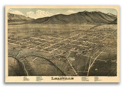 1879 Leadville Colorado Vintage Old Panoramic City Map - 16x24