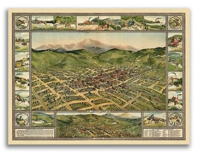 1896 Cripple Creek Colorado Vintage Old Panoramic City Map - 18x24