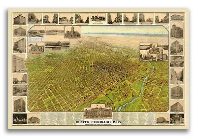Bird's Eye View 1908 Denver Colorado Vintage Style City Map - 16x24