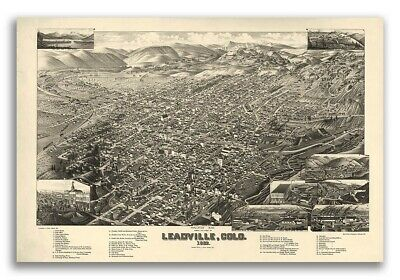 Leadville Colorado 1882 Historic Panoramic Town Map - 16x24