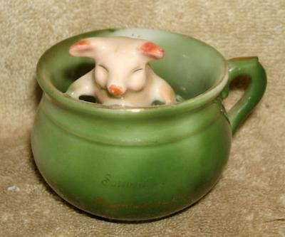 Early 1900's German Pink Pig in Chamber Pot - Souvenir Poughkeepsie NY