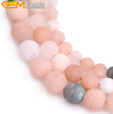 Natural Round Matte Frosted Multi-color Moonstone DIY Stone For Jewelry Beads