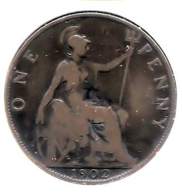 Great Britain 1902 Large One Penny Coin - United Kingdom England King Edward VII