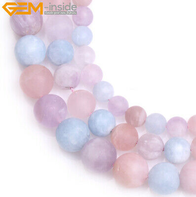 Round Multi-Color Gemstone Unpolished Matte Frost Quartz Beads Jewelry Making
