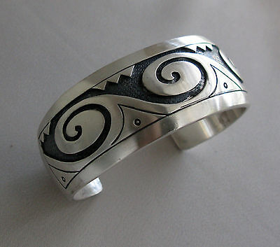 H. Craig IHMSS NAVAJO Sterling Silver Cuff Bracelet Indian Hand Made Silver;E250