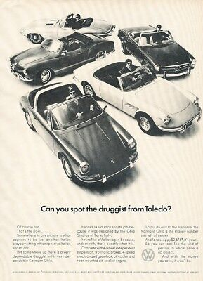 1969 Volkswagen Karmann Ghia Porsche Ferrari Advertisement Print Art Car Ad J946
