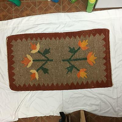 Vintage / Antique Woven Mat or Rug American Indian? Stylized Flowers FOLK ART #C