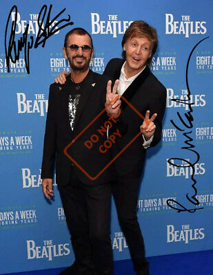 REPRINT RP 8x10 Signed Autographed Photo Picture: Ringo Starr & Paul McCartney