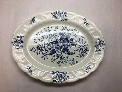 VINTAGE Booths CHINA Peony PATTERN Blue WHITE Floral LARGE Oval SERVING Tray