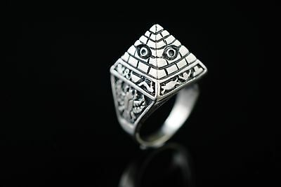 Ancient Egypt Kingdom Great Giza Pyramid 925 Solid Sterling Silver Ring SR38