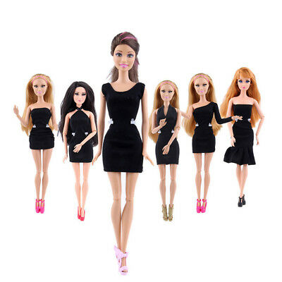 LOT 1/6/10pcs Black Fashion Handmade Princess Dress Clothes Gown For Barbie Doll