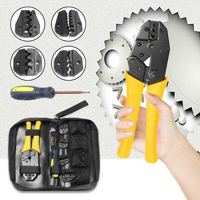 Insulated Cable Connectors Terminal Ratchet Crimping Plier Wire Crimper Tool Kit