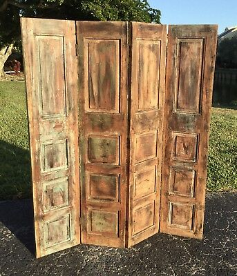 Early Antique Arts & Crafts Solid Hardwood Folding Room Divider / Architectural