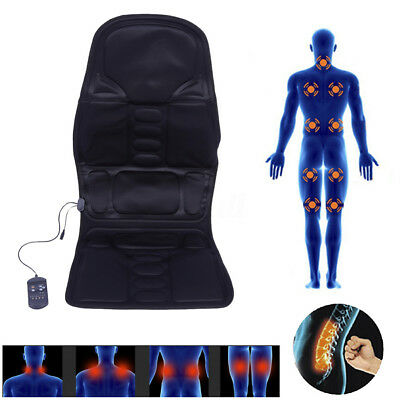 Electric Heated Back Massage Seat Cushion Car Chair Massager Lumbar Neck Hip Pad