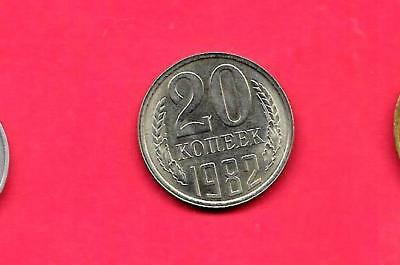 Russia Ussr Y132 1982 Unc-Uncirculated Mint Old Vintage 20 Kopek Coin