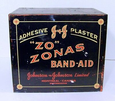 "Vintage Johnson & Johnson""ZO""ZONAS BAND-AID Tin Sign Display Case 3 drawer RARE!"