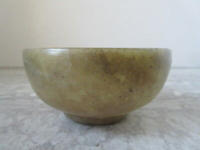 "Antique Chinese Spinach Jade tea Cup or Sake Bowl 3 1/2"" dia"