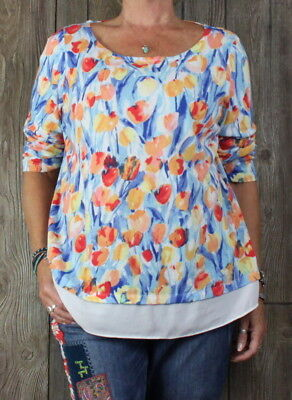 Talbots 1x size Blouse Multi Color Floral Tulip Top Womens Career Casual Plus