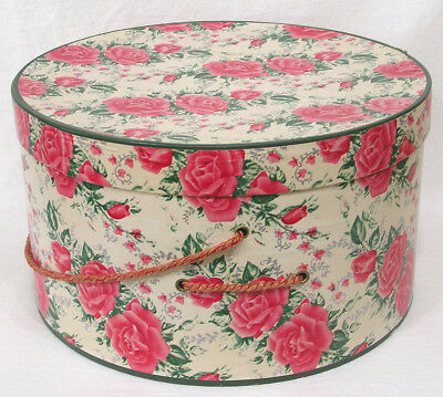 Vtg Stiff Paper Hat Box PINK Roses in Rows NICE!