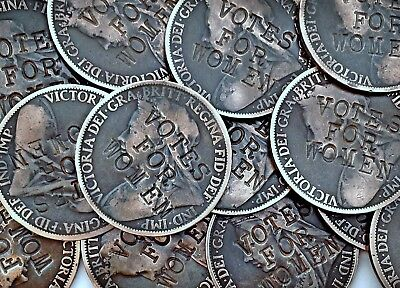 Suffragette Penny  Defaced Queen Victoria Coin . Votes for Women Emily Pankhurst