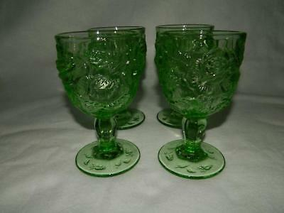 4 LG Wright Wild Rose Light Green Water Goblets Madonna Inn Glasses Free Ship