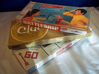 Lot Vintage Parker Brothers Clue Board Game 1963, Monopoly 1994, Battleship 1967