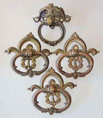 Lot of 4 Antique Brass Ornate Victorian Drawer Pulls Handles