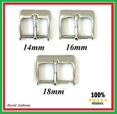 3 x HIGHLY POLISHED STAINLESS STEEL WATCH STRAP BUCKLES.CHOOSE 14MM, 16MM, 18MM
