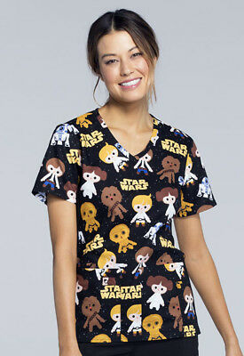 Good Guys Cherokee Scrubs Tooniforms Star Wars V Neck Knit Panel Top TF625 SRGG