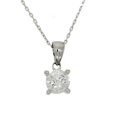 9ct White Gold 0.58cts Diamond Solitaire Pendant And Chain HH0964