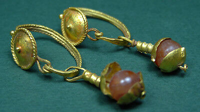 Ancient Gold & Carnelian Earrings Greco-Roman 200 Bc-100 Ad