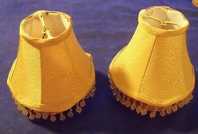 Vintage Pair Of Small Victorian Lamp Shades With Scalloped Edges & Beaded Fringe
