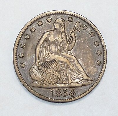 1858-O Liberty Seated Half Dollar VERY FINE/EXTRA FINE Silver 50-Cents