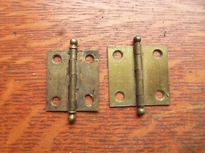 "Two Antique Victorian Small Brass-Plated Cupboard Door Hinges 1 1/ 2"" Tall"