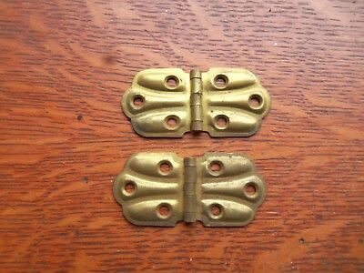 "Two Antique Victorian Butterfly Small Brass Cupboard Door Hinges 1 1/ 8"" Tall"