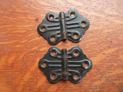 "Two Antique Victorian Butterfly Black Steel Cupboard Door Hinges 1 7/ 8"" Tall"