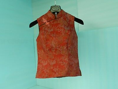 VTG~STUNNING~TIMLESS CLASSIC STYLE! Ladies Size 4 Asian Motif Tapered Blouse