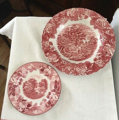 """Enoch Woods Ware China English Scenery Red  White Flat Rimmed Bowl & 6"""" Plate"""