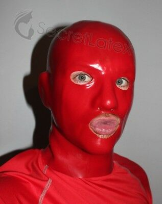 Latex Red Rubber Skin Gummi Hood Long Neck Gimp Fetish Anatomical Male Mask