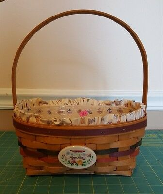 Longaberger 1992 OVAL EASTER BASKET With Fabric Liner, Plastic Protector, Tie On