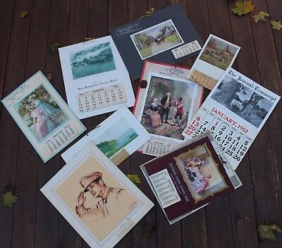 Large Lot of 10 Vintage New Hampshire Antique Paper Advertising Calendars
