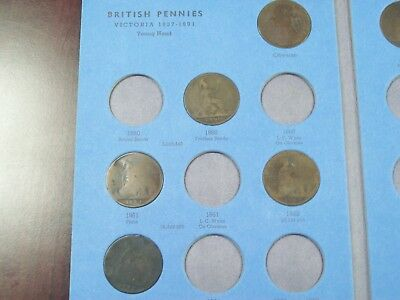 Great Britain Pennies 1860-1880 Not Complete