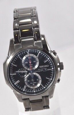 Men's Seiko SSC095 Black Stainless Steel Black Chronograph Solar Dial Watch
